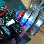 Nasty's motor control PCB rotating a brushless motor with an omniwheel